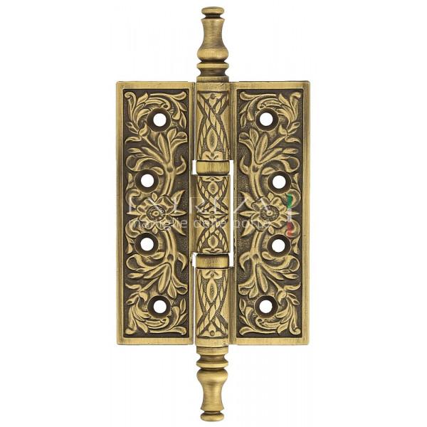 Дверная петля универсальная Extreza 6110 латунная с узором 102x76x4 матовая бронза F03 (1шт.)