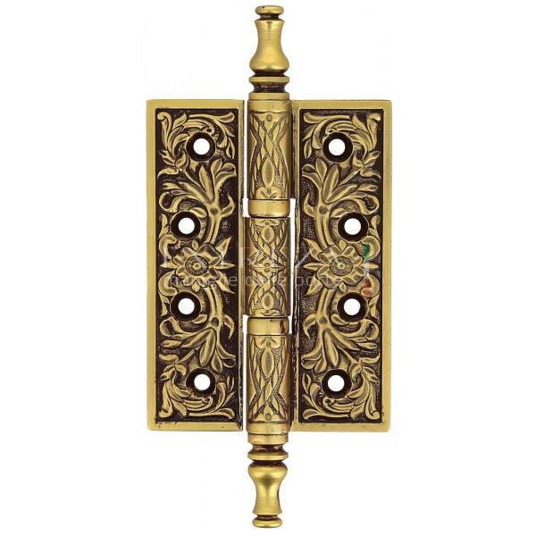 Дверная петля универсальная Extreza 6110 латунная с узором 102x76x4 французское золото + коричневый F59 (1 шт)